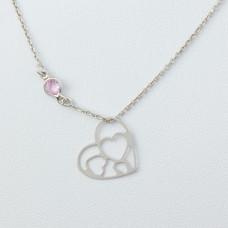 Naszyjnik srebro rodowane serce 45cm, Ag925