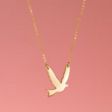 Srebrny, pozłacany naszyjnik z gołębiem, próba Ag925 50cm