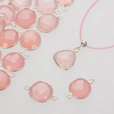 Kryształ górski różowy w okuciu srebrnym AG925 z dwoma oczkami 12mm