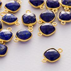 Lapis lazuli kwadrat fasetowany łącznik w okuciu pozłacanym ag925  15x9mm