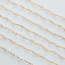 Łańcuch srebrny ag925 pozłacany z labradorytem fasetowanym 2x1.5mm