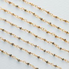 Łańcuch srebrny ag925 pozłacany z pirytem fasetowanym 2x1.5mm
