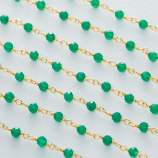 Łańcuch srebrny ag925 pozłacany z zielonym onyksem fasetowanym 3mm