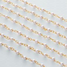 Łańcuch srebrny ag925 pozłacany z perłą majorka  3mm