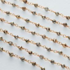 Łańcuch srebrny ag925 pozłacany z pirytem fasetowanym 3mm