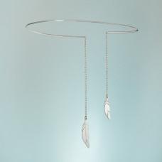 Srebrny rodowany naszyjnik obręcz Ohinyan, próba Ag925 13cm