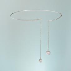 Srebrny rodowany naszyjnik obręcz Owanka, próba Ag925 13cm