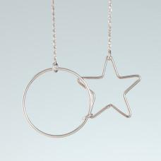 Srebrny rodowany naszyjnik koło i gwiazda, próba Ag925 47cm