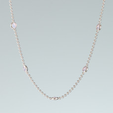 Srebrny rodowany naszyjnik z oczkami rose opal, próba Ag925 45cm