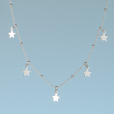 Srebrny, rodowany naszyjnik pięć gwiazdek, próba Ag925 40-45cm
