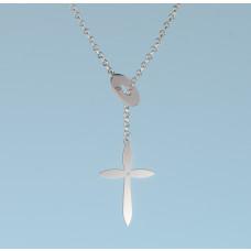 Srebrny, rodowany naszyjnik kółko i krzyżyk, próba Ag925