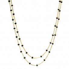 Długi naszyjnik złocony z czarnymi koralikami ag925