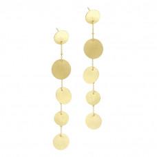 Kolczyki wiszące złocone z kółkami satynowymi ag925