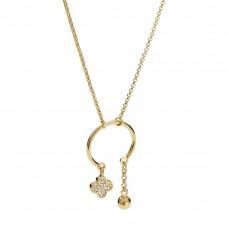 Naszyjnik złocony z kwiatkiem z cyrkoniami ag925