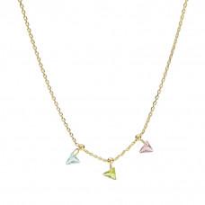 Naszyjnik złocony z trójkącikami kolorowymi ag925