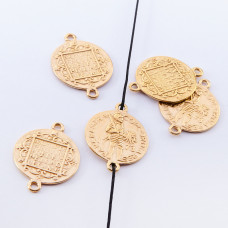 Srebrna moneta łącznik wojownik pozłacany 15mm