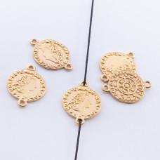 Srebrna moneta łącznik pozłacany 13,5mm