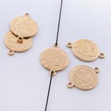 Srebrna moneta łącznik Liberty pozłacana 16mm