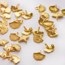 Srebrna zawieszka liść miłorzębu złoty 11mm