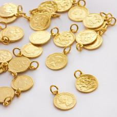 Srebrna zawieszka moneta Królowa Elżbieta AG925 złoty 11mm