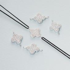 Łącznik z cyrkoniami kwiatek ag925 15x10mm