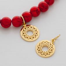 Srebrna zawieszka Ag 925 ornament wycięty z kóleczkiem pozłacany  14 mm