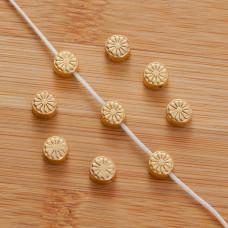 Srebrny koralik krążek kwiatek Ag925 pzłacany 6.5mm