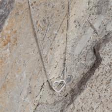 Srebrny rodowany koralik serduszko 6,5x7mm, Ag925