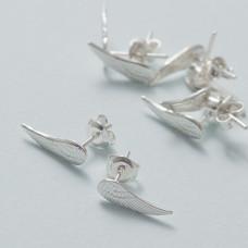 Kolczyki skrzydła pełne ag925 srebrny
