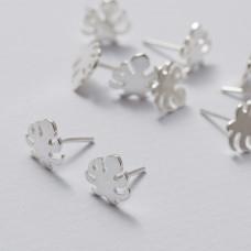 Kolczyki sztyfty liść monstery z barankami srebrny 10 mm