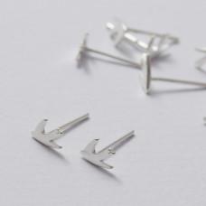 Kolczyki sztyfty jaskółki srebrne 8 mm