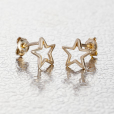 Srebrne, pozłacane kolczyki wycięte gwiazdki, próba Ag925 8,5mm