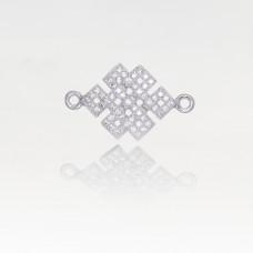 Przekładka rodowana z cyrkoniami zawijasy kwadratowe dwa oczka 24x14mm