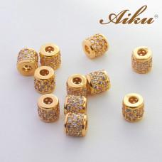 Koralik walec z cyrkoniami złocony 7mm