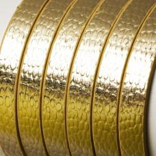 Rzemień płaski łuski złote 8x1,5mm