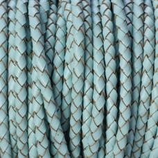 Rzemień naturalny pleciony pastelowy błękitny 4mm