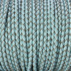 Rzemień naturalny pleciony pastelowy błękitny 3mm