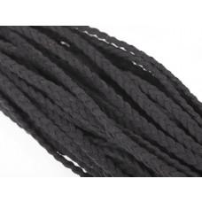 Rzemień zamszowy pleciony czarny 2x5mm