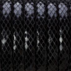 Rzemień klejony czarny błyszczący 10.5x5mm