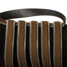 Rzemień zamszowy brązowy z łańcuszkiem 10,2x2,5mm