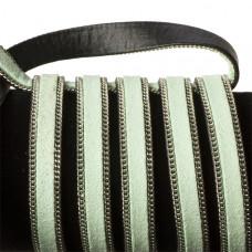 Rzemień zamszowy pistacjowy z łańcuszkiem 10,2x2,5mm