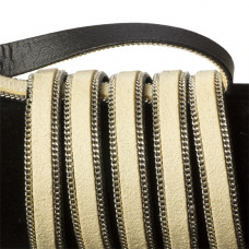 Rzemień zamszowy kremowy z łańcuszkiem 10,2x2,5mm