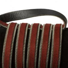Rzemień zamszowy bordowy z łańcuszkiem 10,2x2,5mm