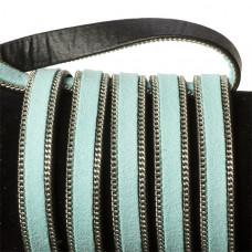 Rzemień zamszowy błękitny z łańcuszkiem 10,2x2,5mm