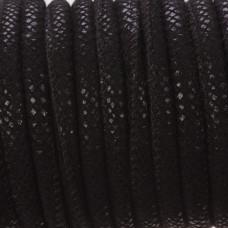 Rzemień szyty w kropeczki czarny 6mm