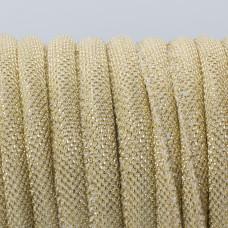 Rzemień szyty materiałowy złoty 6mm