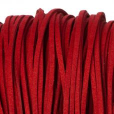 Rzemień zamszowy płaski czerwony 2,5x1mm