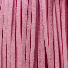 Rzemień zamszowy płaski metalizowany różowy 2,5x1mm