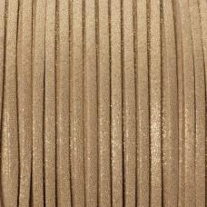 Rzemień zamszowy płaski złoty z drobinkami 1x2.5mm