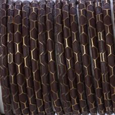 Rzemień klejony brązowy ze wzorem 4mm